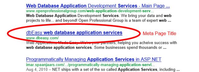 Google Title Example dbEasy